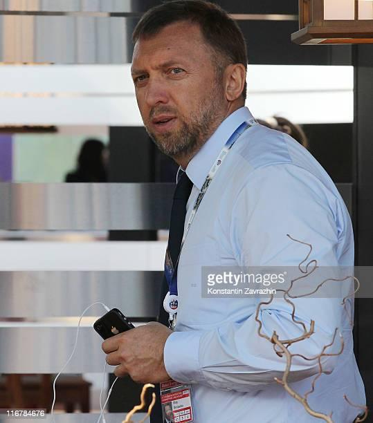 Russian billionaire and businessman Oleg Deripaska attends the St Petersburg International Economic Forum on June 17 2011 in St Petersburg Russia...