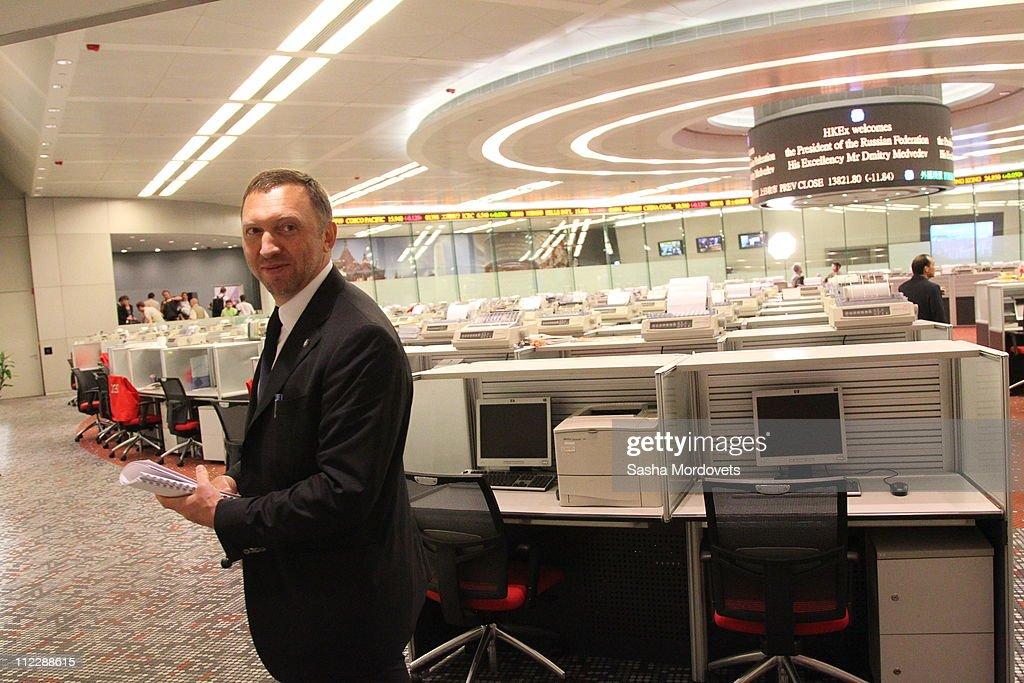 Russian President Dmitry Medvedev Hong Kong Stock Exchange : News Photo