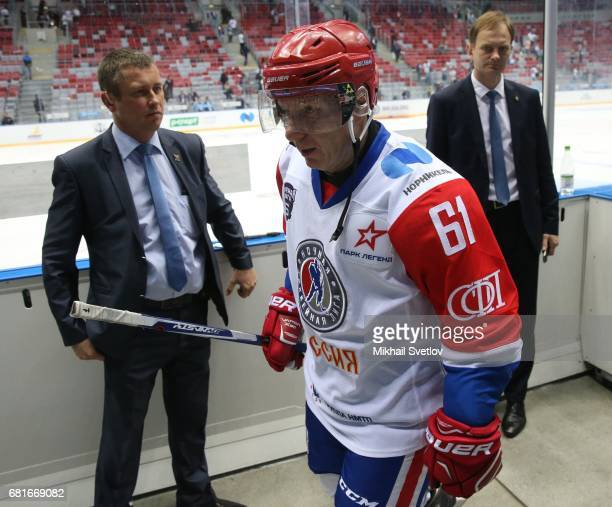 Russian billionaire and businessman Vladimir Potanin attends a gala match of the Night Hockey League teams at the Bolshoy ice arena on May 10, 2017...
