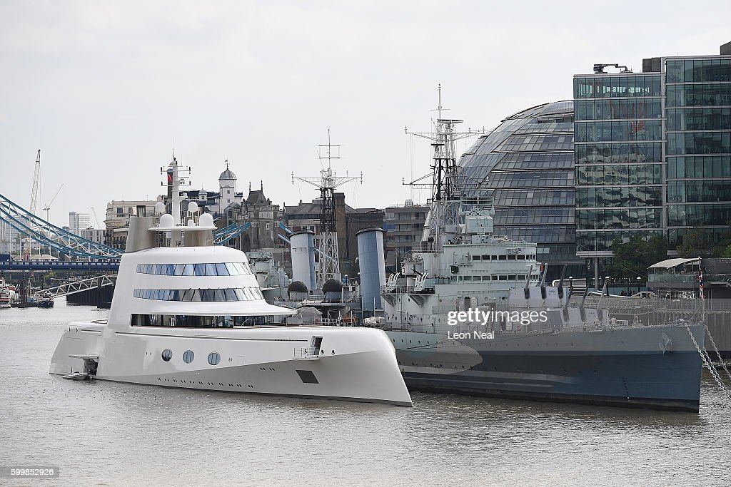 Russian Billionaire's Superyacht Moors On The River Thames : News Photo