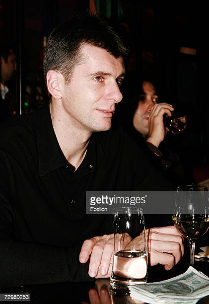 Russian billionaire Mikhail Prokhorov in restaurant on November 2006 in Norilsk Russia French authorities have detained Prokhorov for questioning as...