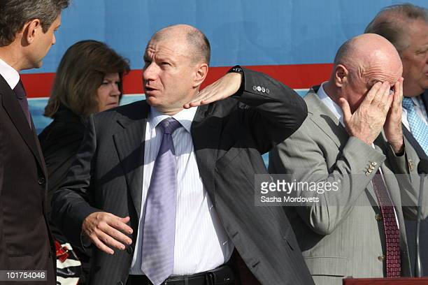 Russian billionaire Vladimir Potanin and Taimuraz Bolloyev , head of Olympstroy, attend a foundation stone-laying ceremony of the Russian...