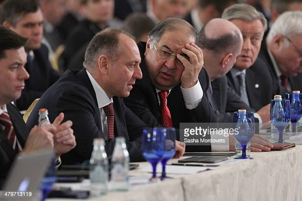 Russian billionaires and businessmen Alexei Mordashov, Dmitry Pumpyanskiy, Alisher Usmanov and Vladimir Potanin attend a congress of Russian Union of...