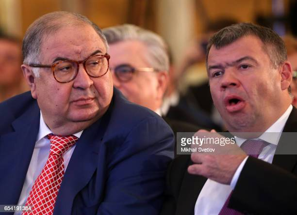 Russian billionaires and businessmen Alisher Usmanov and Andrey Bokarev attend the plenary session of the Congress of Russian Union of Industrialists...
