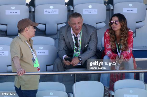 Russian billionaires and businessmen Arkady Rotenberg Boris Rotenberg and Boris Rotenberg's wife Karina Rotenberg are seen during the awarding...