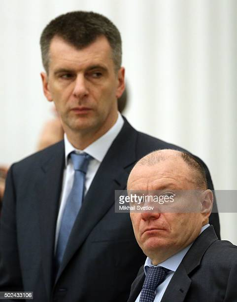 Russian billionaires and businessmen Mikhail Prokhorov and Vladimir Potanin attend a meeting of business community representatives in the Kremlin in...