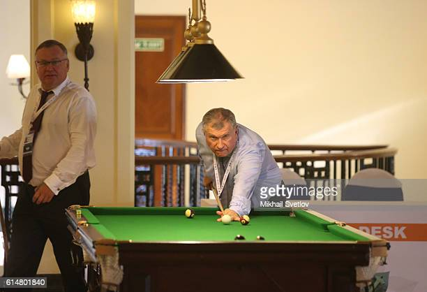 Russian billionaires and businessmen President of Rosneft Igor Sechin and VTB Group President Andrei Kostin play billiard prior to RussianChinese...