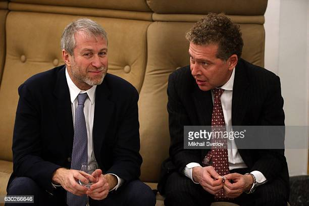 Russian billionaires and businessmen Roman Abramovich and Alexander Mamut attend the meeting with representatives of business community and business...