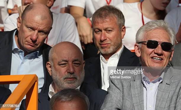 Russian billionaires and businessmen Vladimir Potanin Viktor Vekselberg Roman Abramovich and Gennady Timchenko seen while visiting the Sirius...
