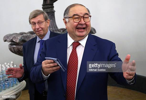 Russian billionaires and businessmen Vladimir Yevtushenkov and Alisher Usmanov attends meeting with representatives of business community and...
