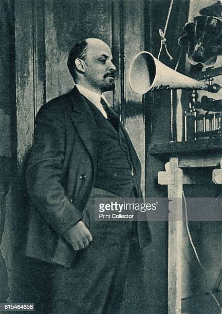 Russian Bolshevik leader Vladimir Lenin at a radio recording in the Kremlin Moscow Russia' 1919 From by [ London ] Artist Unknown