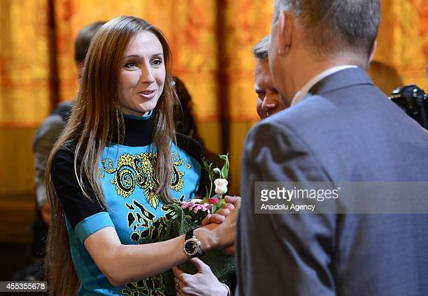 Russian Bolshoi Ballet Svetlana Zakharova attends the 239th Art Season opening ceremony at Bolshoi Theatre in Moscow Russia on September 12 2014...