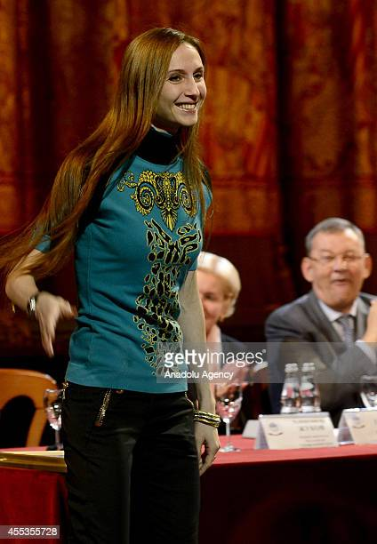 Russian Bolshoi Ballet Svetlana Zakharova is at the 239th Art Season opening ceremony at Bolshoi Theatre in Moscow Russia on September 12 2014...