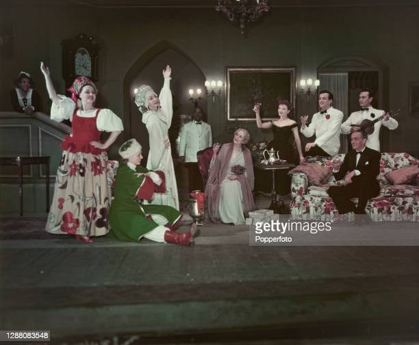 Russian born actress and playwright Elena Miramova appears, 4th from left, with Polly Rowles, Bill Naughton, May Carey, Gladys Taylor, Eugenia...