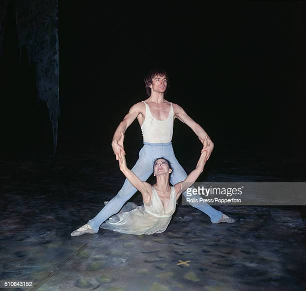 Russian born ballet dancer Rudolf Nureyev and English ballerina Margot Fonteyn pictured together during the final rehearsal of a scene from the...