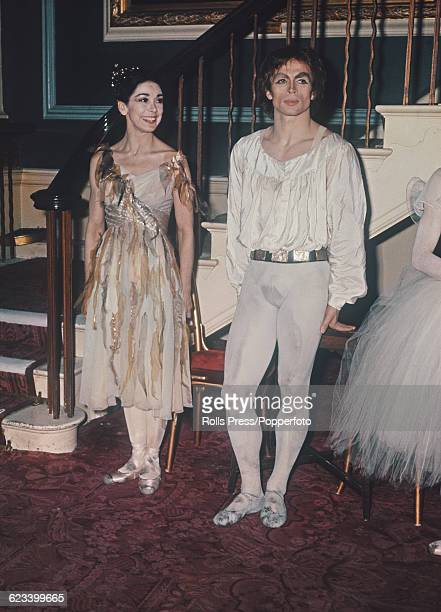 Russian born ballet dancer Rudolf Nureyev and English ballerina Margot Fonteyn pictured together as they prepare to meet Queen Elizabeth II at a...