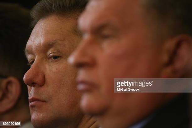 Russian buisnessmen Rosneft's President Igor Sechin and Gazprom's CEO Alexei Miller seen during RussianBrazilian meeting at the Grand Kremlin Palace...