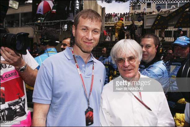 Russian business man and president of Chelsea's team Roman Abramovitch and Bernie Ecclestone in Monaco on May 24 2004