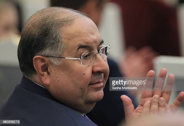 Russian businessman Alisher Usmanov attends a state award ceremony honoring participants of the Olympic and Paralympics Games in Sochi in the Kremlin...