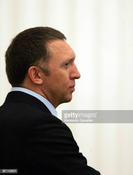 Russian businessman and billionaire Oleg Deripaska looks on prior to attending a meeting amongst other business leaders with President Dmitry...