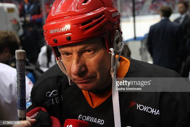 Russian businessman and billionaire Vladimir Potanin in action during a Nignt Hockey League match on May 16, 2015 in Sochi, Russia. Putin was joined...