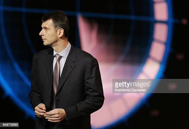 Russian businessman and billionnaire Mikhail Prokhorov attends a meeting at Moscow's Olympiisky Stadium on December 17 2009 in Moscow Russia...