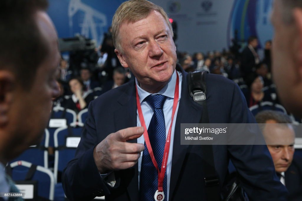 Russian businessman and politician, Rosnano CEO Anatoly Chubais attends the plenary session of Russian Energy Week on October 4, 2017 in Moscow, Russia.