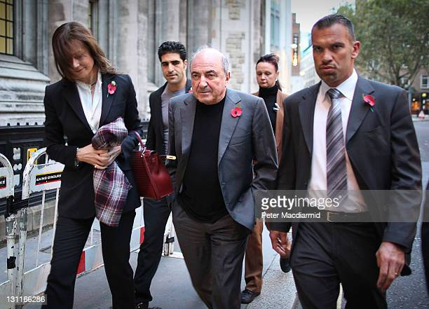 Russian businessman Boris Berezovsky leaves The High Court with his partner Yelena Gorbunova on November 2, 2011 in London, England. Mr Berezovsky is...
