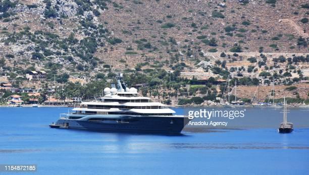 Russian businessman Dmitry Vladimirovich Kamenshchik's luxury yacht named ''Flying Fox'' lies off in Selimiye offshore in Marmaris district of Mugla...