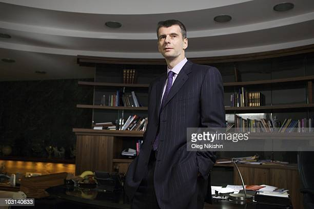 Russian businessman Mikhail Prokhorov is photographed in his office on December 3 2009 in Moscow Russia
