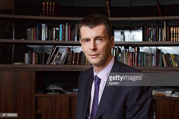 Russian businessman Mikhail Prokhorov poses in his office on January 14 2010 in Moscow Russia