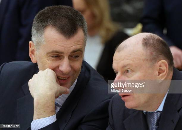 Russian businessmen and billionaires Mikhail Prokhorov and Vladimir Potanin attend the meeting with top businessmen at the Kremlin Moscow Russia...