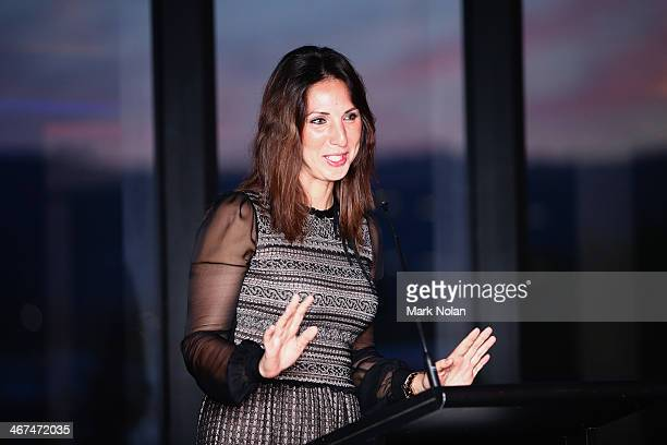 Russian captain Anastasia Myskina presents a speach during the official dinner ahead of the Fed Cup Tie between Australia and Russia on February 6...