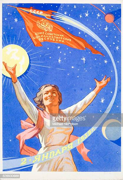 Russian card from 1959 celebrating Soviet achievement in Space Shows a joyful woman in front of the Sun the moon stars a sputnik and a space rocket