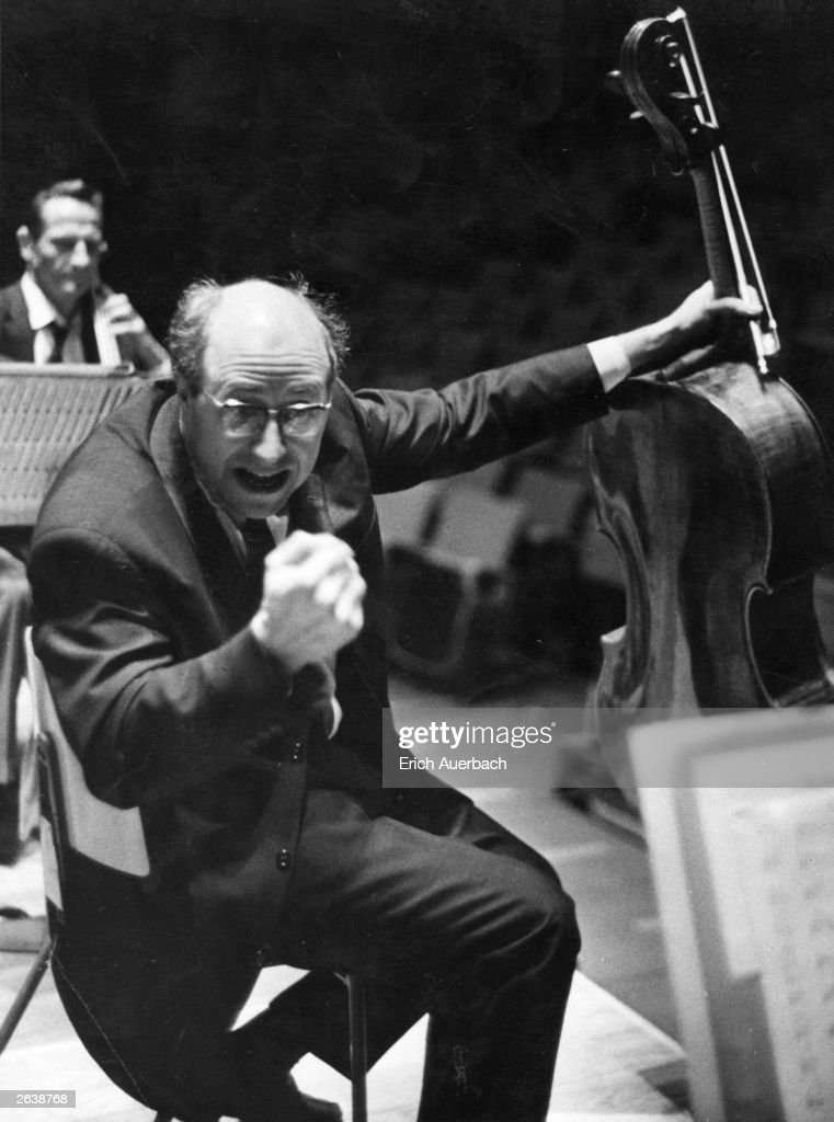 Russian cellist and composer Mstislav Leopoldovitch Rostropovich (1927 - ) gestures during a rehearsal