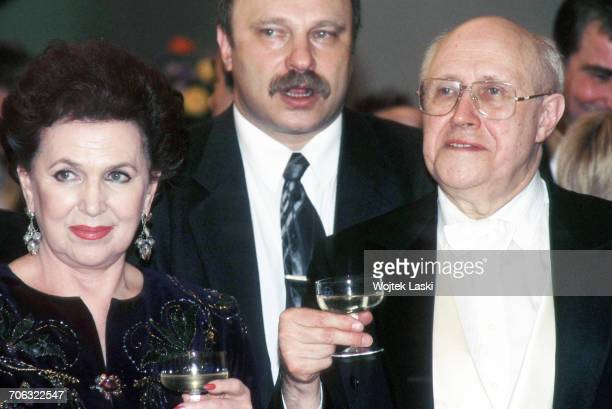 Russian cellist and conductor Mstislav Rostropovich and his wife Galina Vishnevskaya in Moscow Russia in 1990