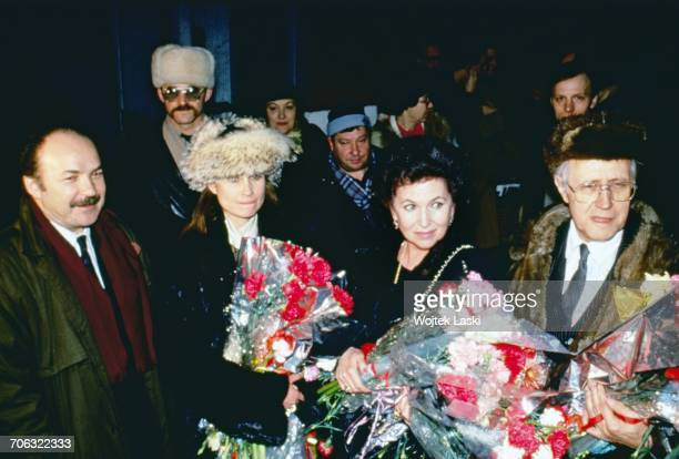 Russian cellist and conductor Mstislav Rostropovich and his wife Galina Vishnevskaya arrive in Moscow to begin their first visit to their homeland...