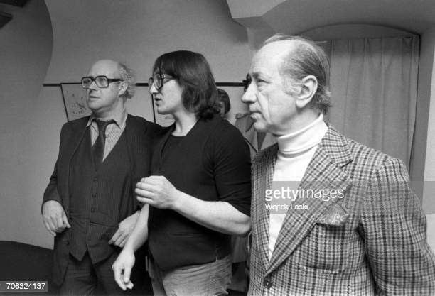 Russian cellist and conductor Mstislav Rostropovich and Russian painter Mikhail Chemiakin at a Russian art exhibition in Paris France on 11th March...
