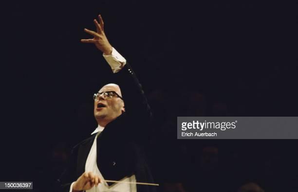 Russian cellist and conductor Mstislav Rostropovich conducting circa 1970
