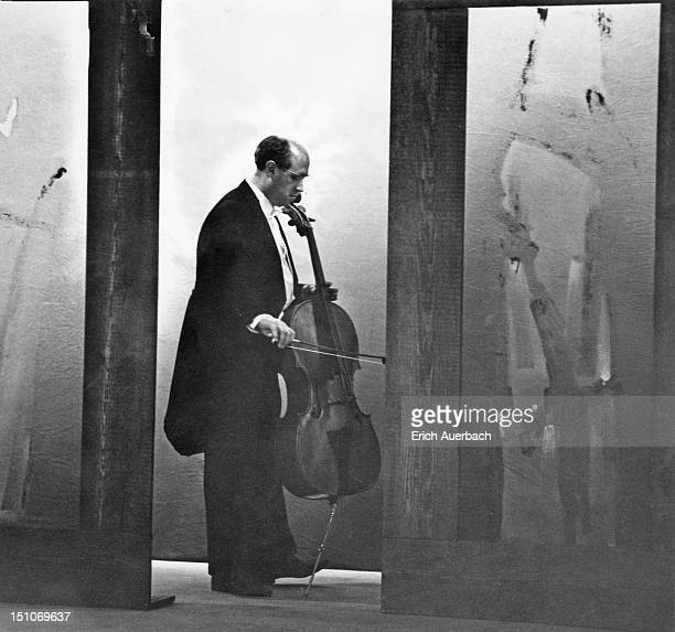 Russian cellist and conductor Mstislav Rostropovich during a concert at the Riverside London 19th July 1964