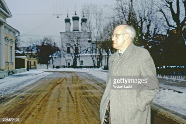 Russian cellist and conductor Mstislav Rostropovich during his first visit to his homeland since 1974 when he was forced into exile Moscow Russia in...