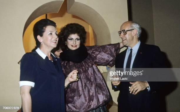 Russian cellist and conductor Mstislav Rostropovich his wife Galina Vishnevskaya and their daughter Olga in Warsaw Poland in July 1982
