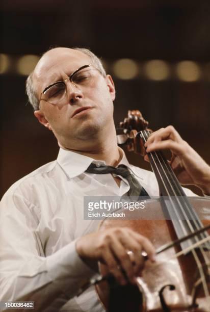 Russian cellist and conductor Mstislav Rostropovich performing circa 1970