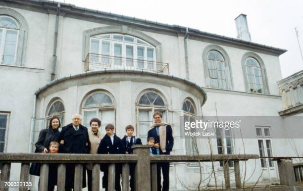 Russian cellist and conductor Mstislav Rostropovich with family during his first visit to his homeland since 1974 when he was forced into exile...