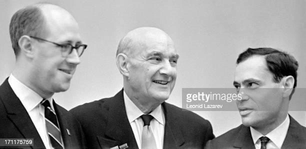 Russian cellist Mstislav Leopoldovich Rostropovich composer Vano Ilyich Muradeli and violinist Leonid Borisovich Kogan Moscow 1962
