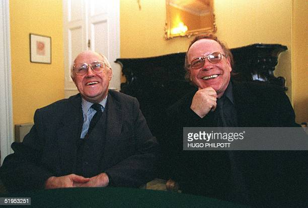 Russian cellist Mstislav Rostropovich and author Edvard Radzinsky pose 16 March 2000 at the publicity launch for the new definitive book on Rasputin...