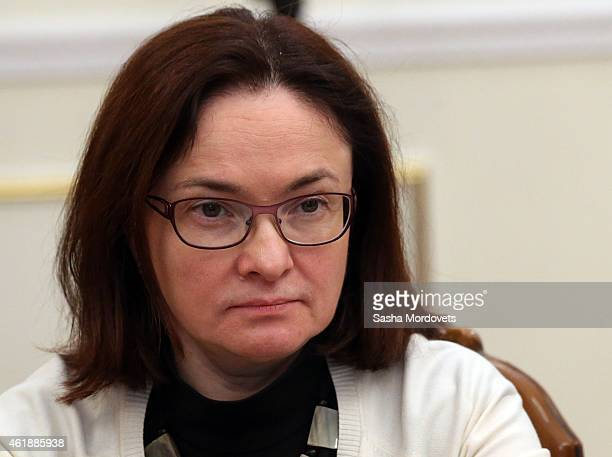 Russian Central Bank Governor Elvira Nabiullina attends a meeting with ministers of the Russian government on January 21 2015 at NovoOgaryovo State...