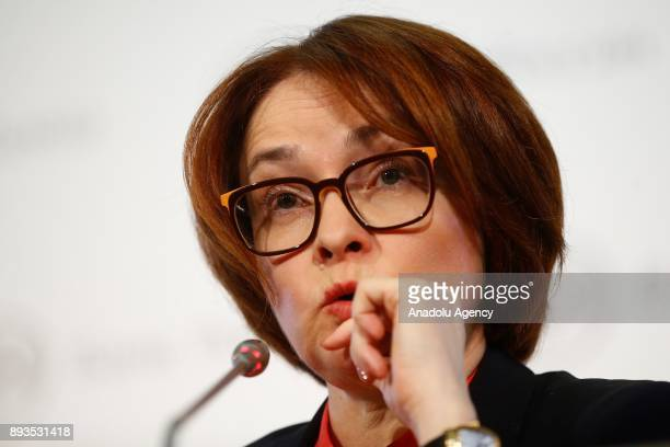 Russian Central Bank Governor Elvira Nabiullina speaks during press conference in Moscow Russia on December 15 2017
