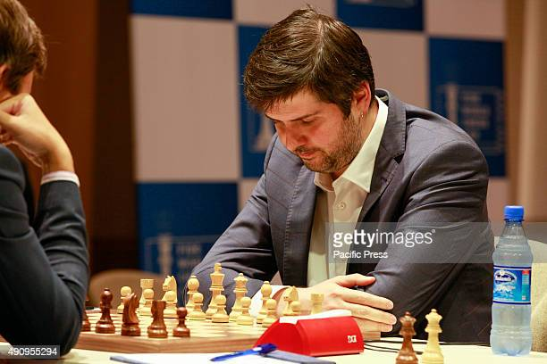 Russian chess player Peter Svidler concentrates during the World Chess Cup 2015 in Baku