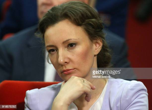 Russian Children's Ombudsman Anna Kuznetsova attends the meeting of the Extended Board of the Prosecutor General's Office on February 15 in Moscow...